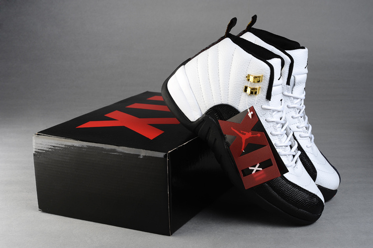 2015 Jordan 12 White Black Gold For Women