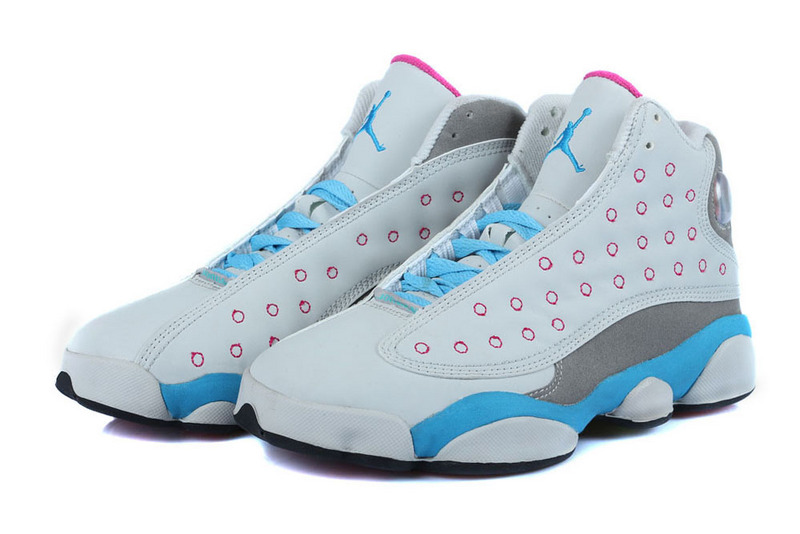 2015 Jordan 13 GS Miami Vice White Grey Light Blue For Women