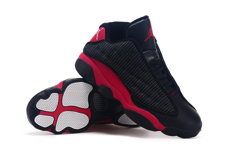 2015 Air Jordan 13 Low 30th Black True Red Shoes