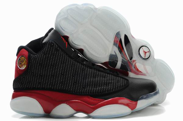 2012 Air Jordan 13 Net Vamp Transparent Sole Black Red White Shoes