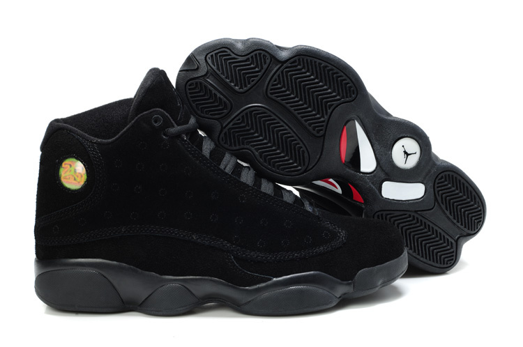 Comfortable Air Jordan 13 Suede All Black Shoes