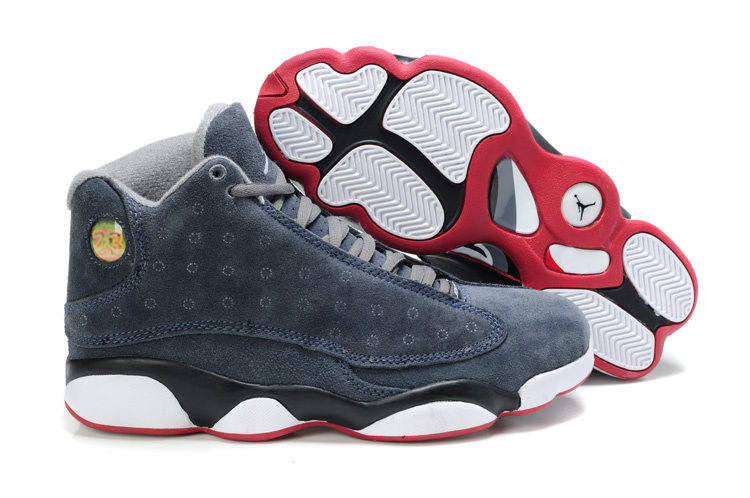 Comfortable Air Jordan 13 Suede Black White Red Shoes