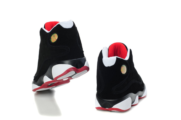 Comfortable Air Jordan 13 Suede Dark Black White Red Shoes