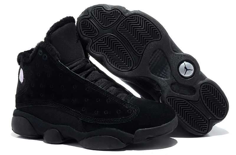 Comfortable Air Jordan 13 Wool All Black Shoes