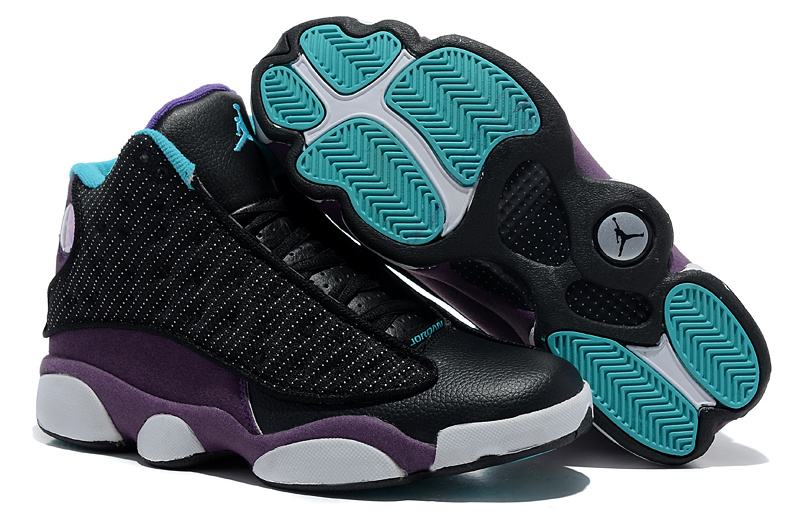 Comfortable Air Jordan 13 Wool Black Purple White Shoes