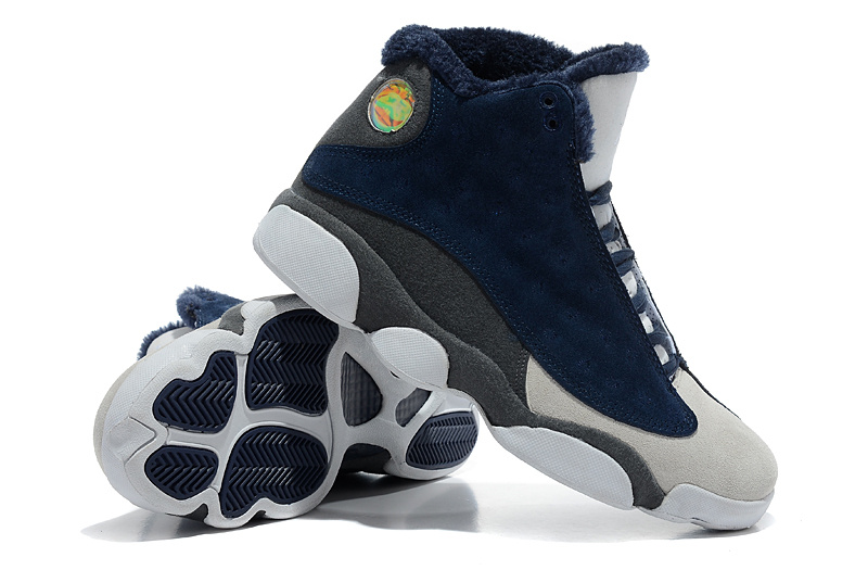 Comfortable Air Jordan 13 Wool Blue White Grey Shoes