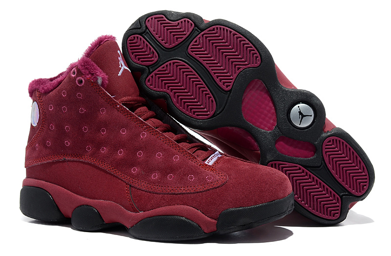 Comfortable Air Jordan 13 Wool Wine Red Black Shoes