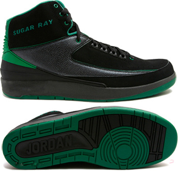 Cheap Authentic Air Jordan Retro 2 Black Green Chrome
