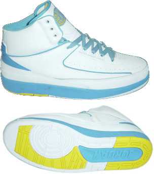 Cheap Authentic Air Jordan Retro 2 White Light Blue Yellow Chrome