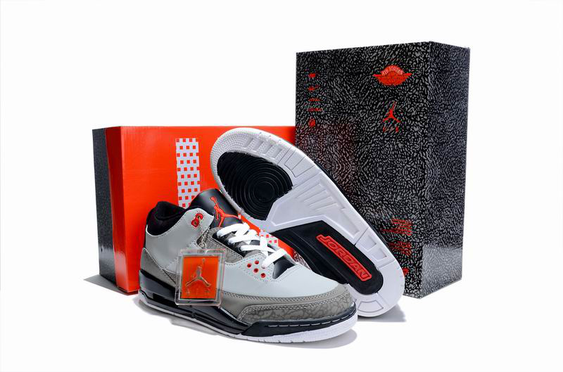 New Air Jordan 3 Hardcover Box Grey Cement Black Shoes