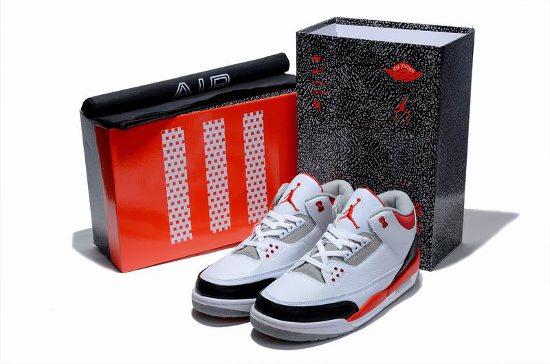 New Air Jordan 3 Hardcover Box White Black Red Shoes