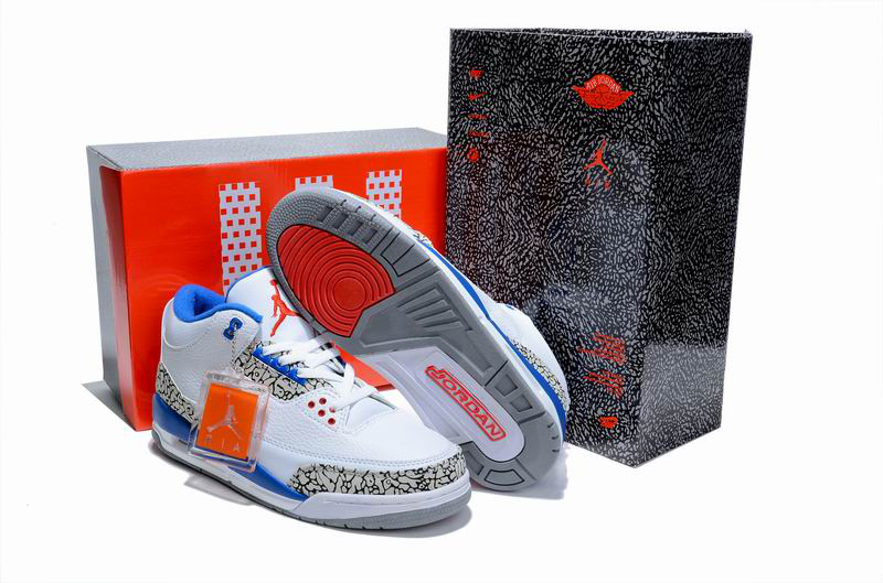 New Air Jordan 3 Hardcover Box White Cement Blue Shoes