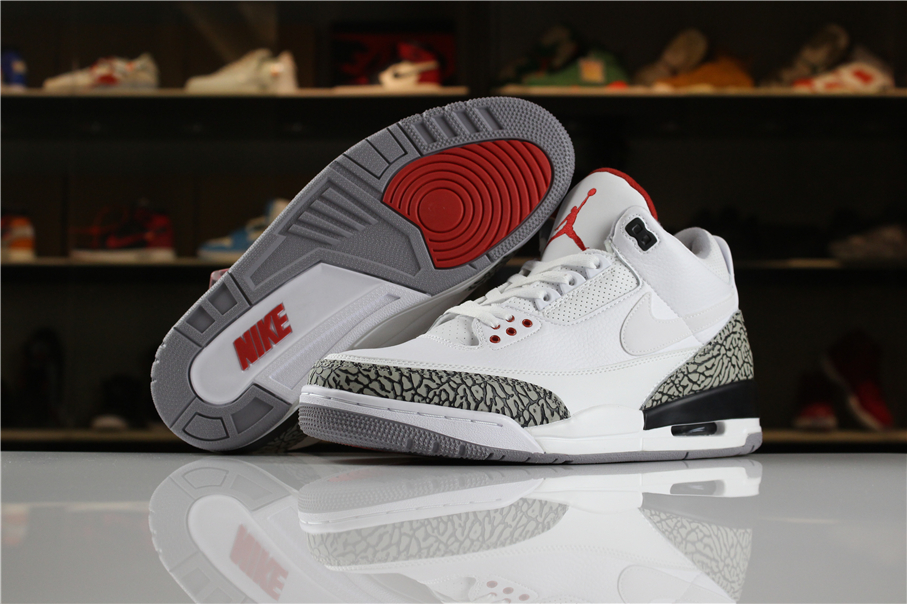 Air Jordan 3 JTH White White Fire Red Black