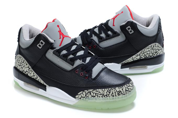 Air Jordan Shoes 3 Midnight Black Grey Red