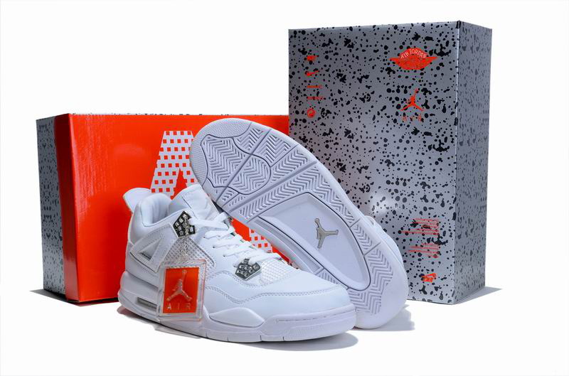 New Air Jordan 4 Hardcover Box All White Shoes