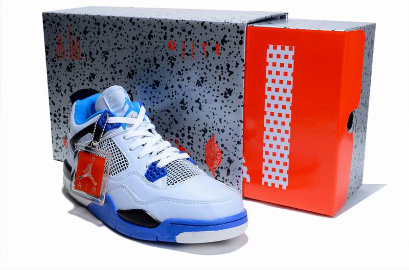 New Air Jordan 4 Hardcover Box White Blue Black Shoes