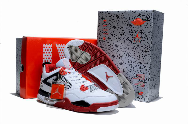 New Air Jordan 4 Hardcover Box White Red Black Shoes