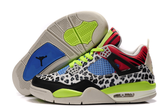 Air Jordan 4 Leopard Print White Black Green Red Shine Shoes