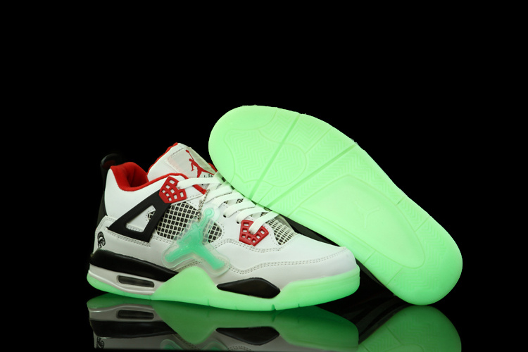 Nice Air Jordan 4 Midnight White Black Red Shoes