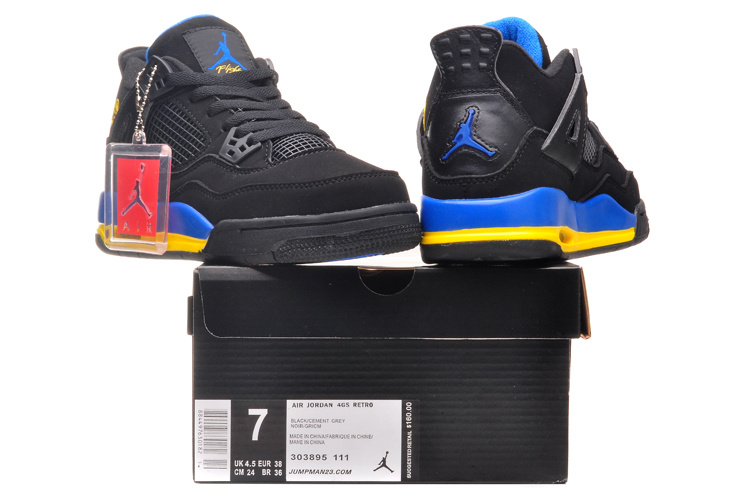 2015 Jordan 4 Black Blue Yellow