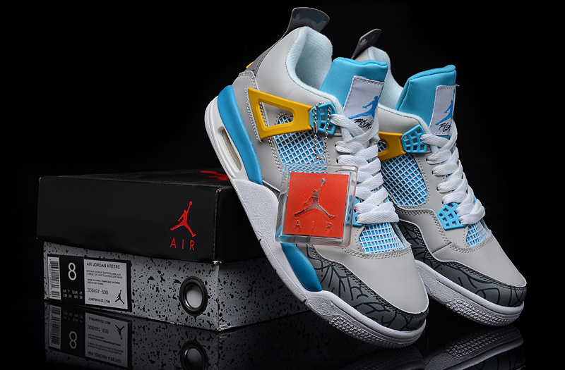 2015 Jordan 4 Grey Light Blue Yellow