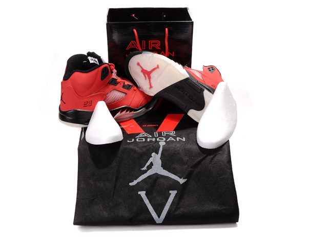 Air Jordan 5 Retro Hardcover Box Red Black White - Click Image to Close