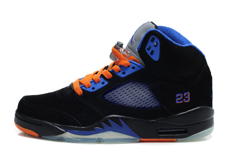 Authentic Air Jordan 5 Suede Black Blue Orange Shoes