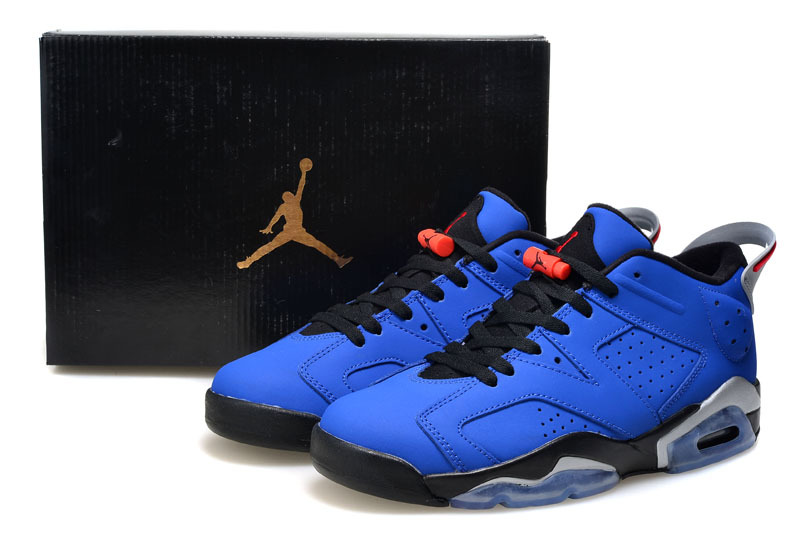 2015 Air Jordan 6 Low Cut Blue Black Shoes For Women
