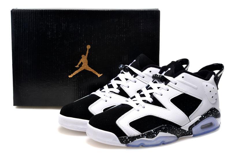 2015 Air Jordan 6 Low Cut White Black Shoes For Women