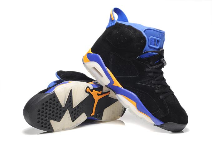 Top Quality Air Jordan 6 Suede Black Blue White Shoes