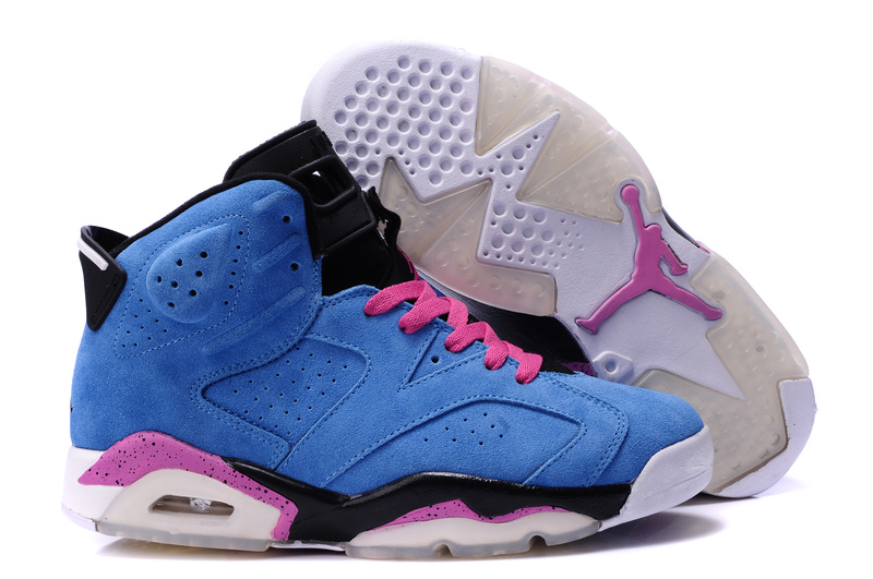 Top Quality Air Jordan 6 Suede Blue Pink Black Shoes