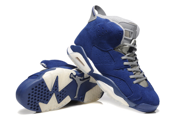 Original Air Jordan 6 Suede Blue White Shoes