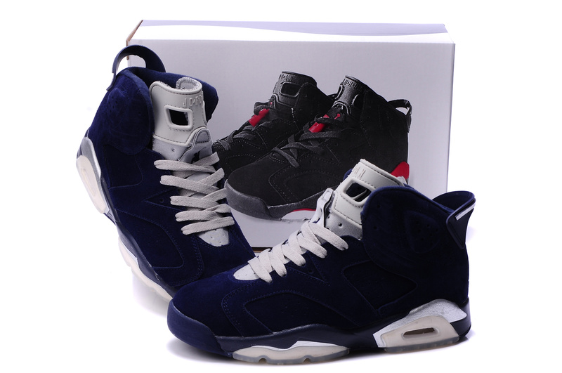 Original Air Jordan 6 Suede Dark Blue White Shoes