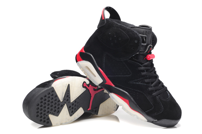 Original Air Jordan 6 Suede Dark black Red Shoes