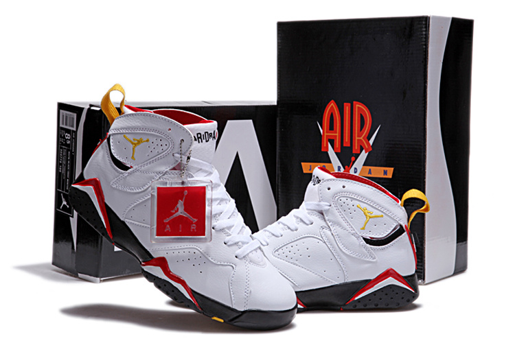 New Retro Air Jordan 7 Duplicate White Black Red Yellow Shoes