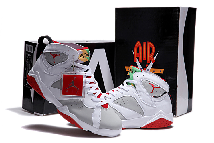 New Retro Air Jordan 7 Duplicate White Grey Red Shoes