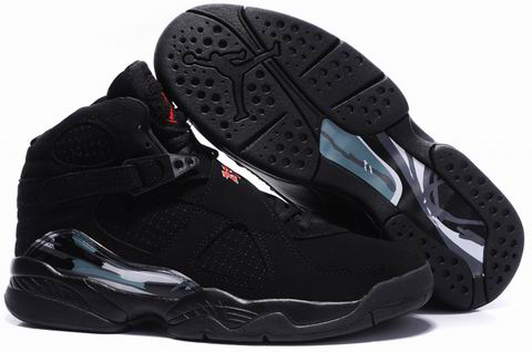2012 Air Jordan 8 Embroider All Black Shoes