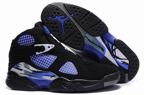 2012 Air Jordan 8 Embroider Black Blue Shoes