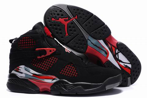 2012 Air Jordan 8 Embroider Black Red Shoes