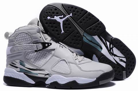 2012 Air Jordan 8 Embroider Grey Black Shoes