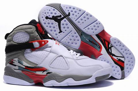 2012 Air Jordan 8 Embroider White Grey Red Shoes