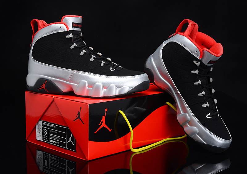 Popular Air Jordan 9 Reissue Kilroys Black Silver Red Shoes