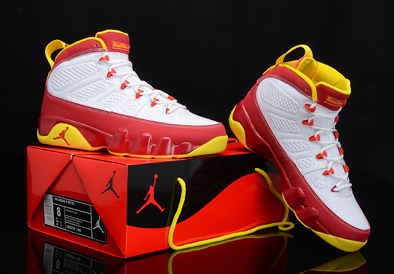 Popular Air Jordan 9 Reissue White Red Yellow Shoes