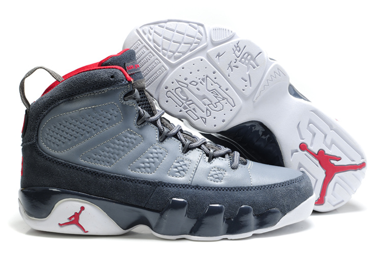 Authentic Air Jordan 9 Suede Grey White Red Shoes