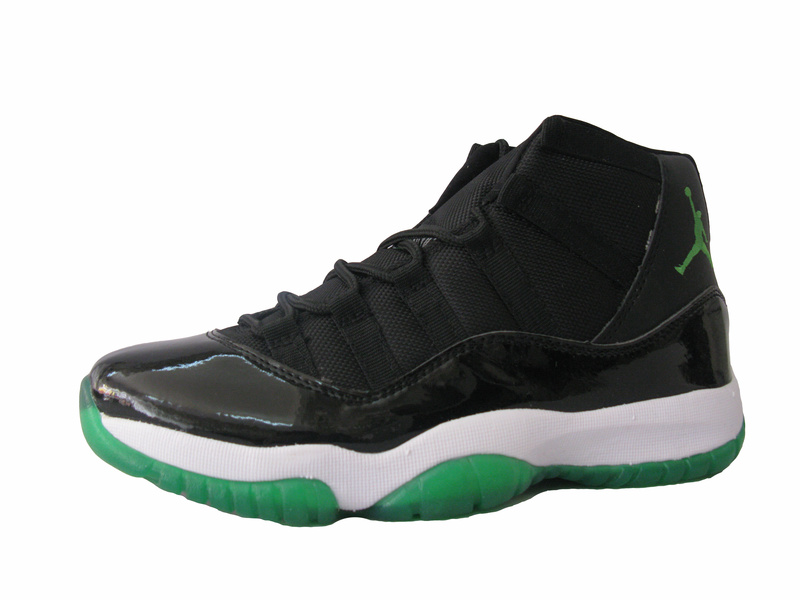 New Air Jordan Retro 11 Black White Green Shoes
