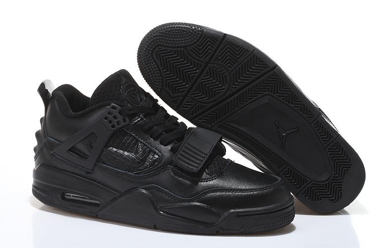 2015 Air Jordan 4 All Black With Strap