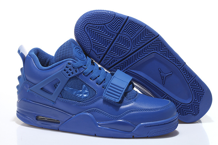 2015 Air Jordan 4 All Blue With Strap