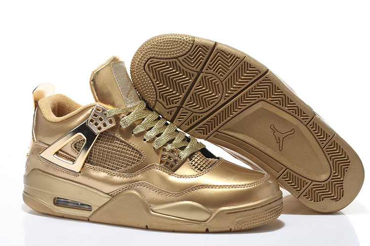 2015 Air Jordan 4 All Gold With Strap