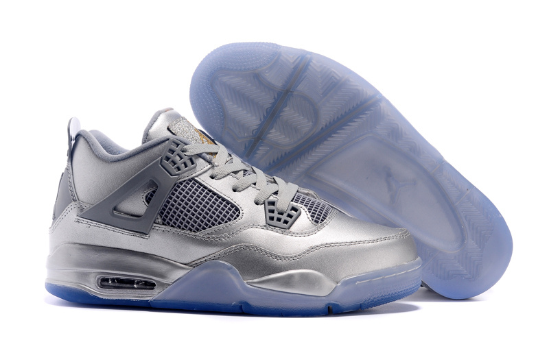 2015 Air Jordan 4 All Silver Blue Sole Shoes