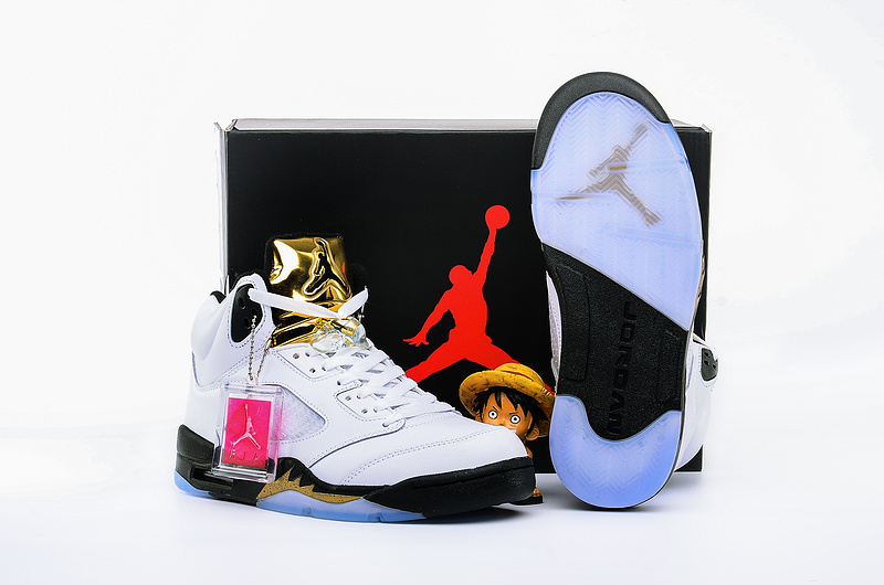 CLassic Air Jordan 5 Olympic White Black Gloden Shoes